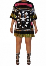 Women Fashion Plus Size Sequins Contrast Color Front Pentagram Mini Dress