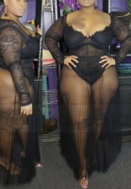 Women Sexy Mesh Lace Side See Through V Neck Maxi Dress (Plus Size)
