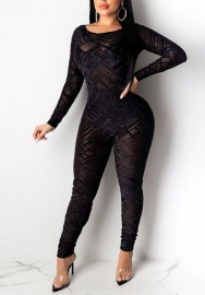 Women Sexy Black Lace Long Sleeve Backless Slim Jumpsuit
