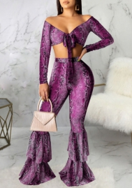 Women Sexy Print Snake Front Bow Tie Long Sleeve Crop Tops and Bottom Ruffle Long Pants 2 Piece Suit