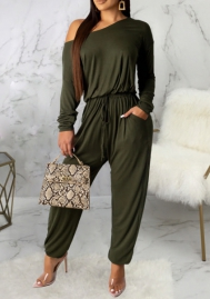 Women Fashion Solid Color Cotton Loose Long Sleeve Jumpsuit