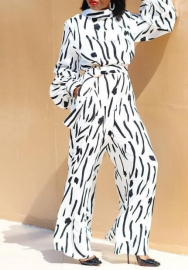Women Fashion Black&White Cow Long Sleeve Loose Jumpsuit With Waist Tie