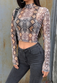 Women Sexy Mesh See Through Print Snake Long Sleeve Tops