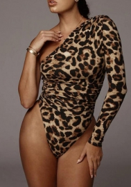 Women Sexy Single Shoulder Long Sleeve Print Leopard Bodysuit