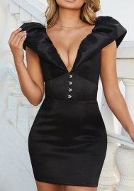Women Fashion Satin Ruffle Deep V Neck Backless Mini Dress