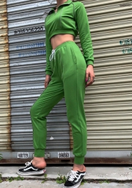 Women Fashion Front Zipper Long Sleeve Green Crop Tops and Long Pants Workout Tracksuit Suit