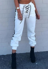Women Fashion Front Lace Up Hip Hop Long Pants