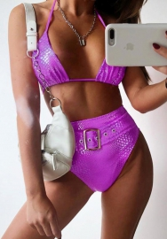 Women's Sexy High Waist Crocodile Skin Bikini Buckle Front Two Piece Swimsuit Bathing Suit