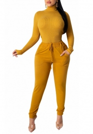 Women Fashion Solid Color High Neck Long Sleeve Tops and Long Pants Tracksuit Suit