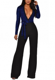 Women Fashion Deep V Neck Sequins Long Sleeve Bodycon Jumpsuit with Waist Tie