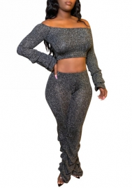 Women Sexy Solid Color Velvet Off Shoulder Long Sleeve Crop Tops and Bottom Ruffle Long Pants Tracksuit Suit