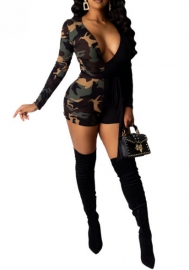 Women Fashion Camouflage Black Contrast Color Deep V Neck Long Sleeve Bodycon Romper Jumpsuit