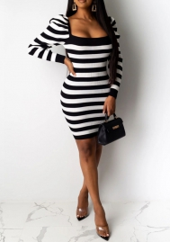 Women Sexy Contrast Color Striped Puff Long Sleeve Mini Dress