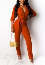 Women Fashion Front Button PL Shirt Styles Jumpsuit with Waist Tie