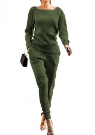 Women Fashion Solid Color Round Neck Long Sleeve Tops and Long Pants Casual Tracksuit Suit