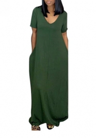 Women Fashion  Solid Color Short Sleeve Short Sleeve Casual Maxi Dress