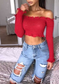 Women Fashion Off Shoulder Long Sleeve Cotton Tops