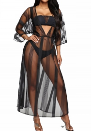 Women Sexy Long SLeeve Mesh Cover_ups Bechwaer