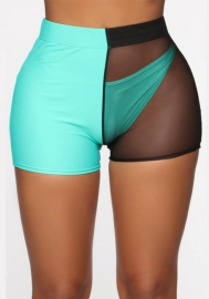 (Only Bottom)Women Mesh Contrast Color Short Pants