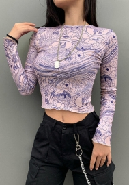 Women Sexy Mesh Round Neck Long Sleeve Tops