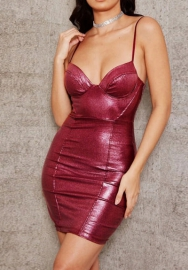 Women Fashion Leather Strap Mini Dress
