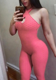 Womens Sexy Backless Workout Romper Jumpsuit Textured One Piece Activewear Pink