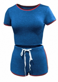 Women Fashion Short Sleeve Tops and Short Pants Tracksuit Suit