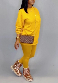 Women fashion Yellow two piece set