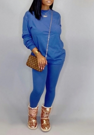 Women fashion Blue two piece set