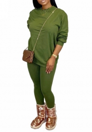 Women fashion Green two piece set