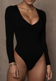 Women Sexy Solid Color Long Sleeve Bodysuit Lingerie