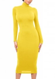 2020 Styles Women Fashion INS Styles Fashion Solid Color Long Sleeve Midi Dress