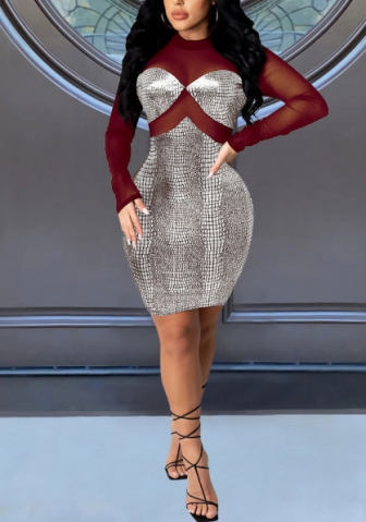 2020 Styles Women Fashion INS Styles Mesh Long Sleeve Dress